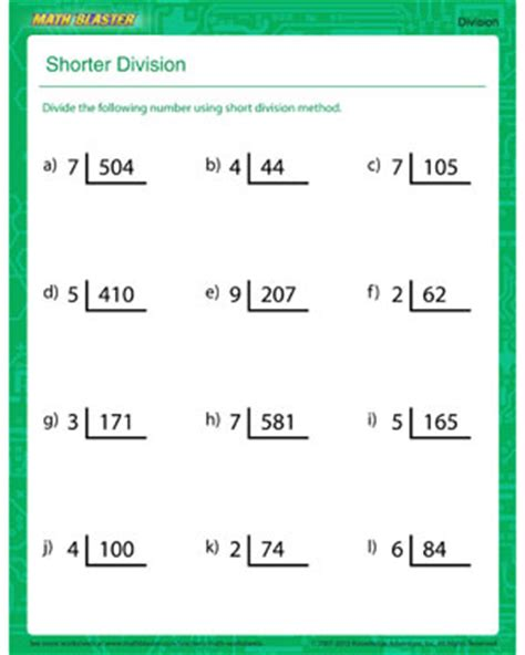 shorter division printable division worksheet  kids