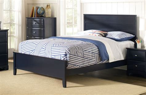 ashton navy blue wood twin panel bed  classy home