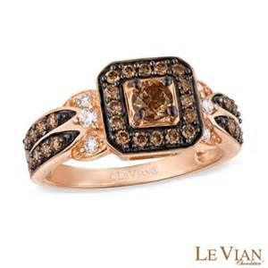 gold engagement rings zales le vian chocolate diamonds 7 8 ct t w square frame ring in 14k strawberry gold