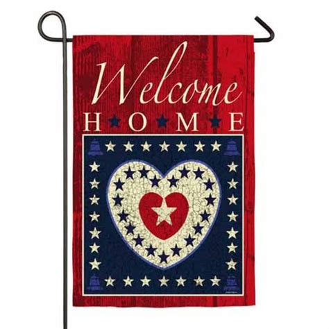 welcome home hearts garden flag 4th of july garden flags