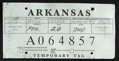 temporary tag template arkansas 2006 temporary tag a064857 plate barn