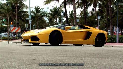 lamborghini aventador s roadster yellow yellow lamborghini aventador lp 700 4 roadster stills and driving at miami beach south florida