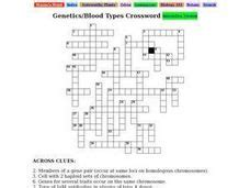 genetics blood types crossword 9th 12th grade worksheet lesson planet