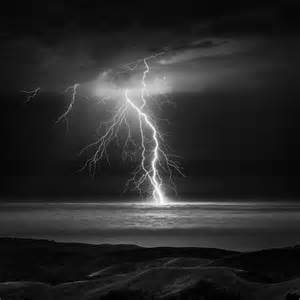 Black and White Lightning Storm