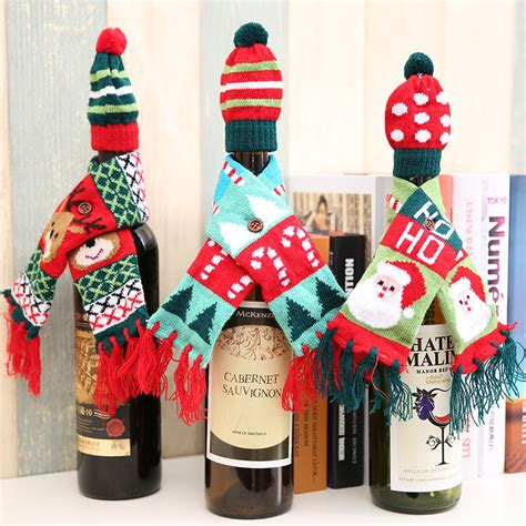 new year christmas christmas clothing sets elk christmas wine bottle decor set santa claus snowman deer