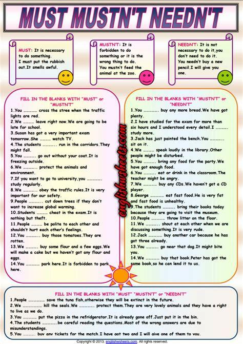 auxiliary verbs must mustn t needn t esl worksheet esl 2