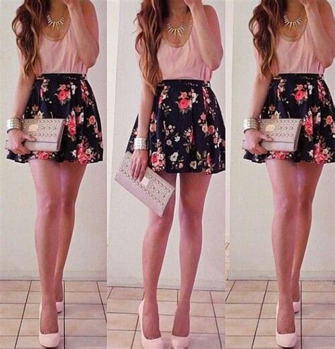 Pink blouse floral skirt cute outfit   Glam Goddess   Pinterest   Floral Pink and Skirts