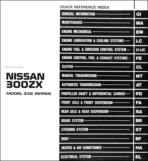 online auto repair manual 1995 nissan 300zx spare parts catalogs 1990 nissan 300zx repair shop manual original