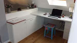 Rangement Sous Bureau : am nagement bureau sous combles l 39 art du rangement ~ Teatrodelosmanantiales.com Idées de Décoration