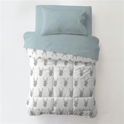 blue gray comforter silver gray deer toddler bedding carousel designs