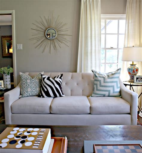 greige and blue macy s chloe sofa contemporary living room behr wheat bread knight moves