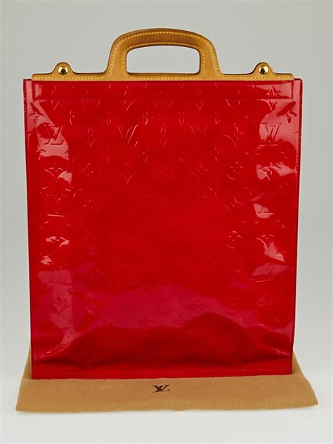louis vuitton red monogram vernis stanton tote bag yoogi
