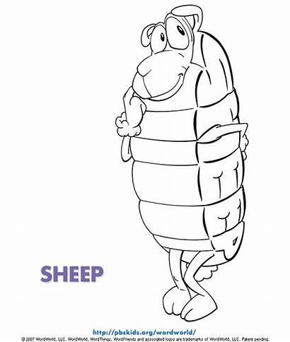 Word Coloring Pages Printable Sheep Wordworld Preschool