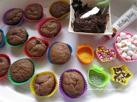 learn with play at home decorating cupcakes with added literacy skills