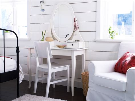 Sweet White Wooden Single Oval Mirrored Vanity Table Ikea