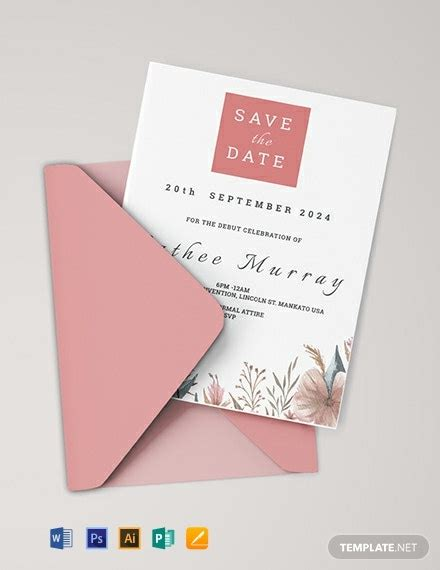 sample debut invitation card template word psd