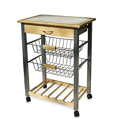 Kitchen Cart Rolling by Rolling Kitchen Cart With Two Baskets Bed Bath Beyond