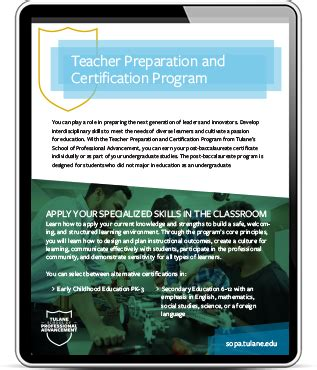 post baccalaureate teacher preparation certification orleans