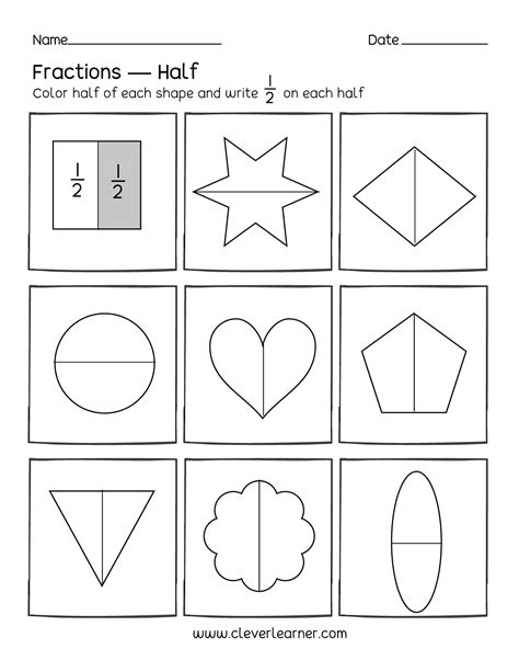 fun activity fractions half 1 2 worksheets for children