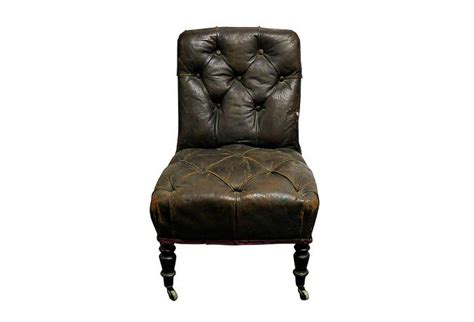 antique brown tufted leather slipper chair omero home