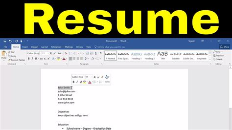 How To Do A Resume On Word by How To Create A Resume In Microsoft Word Tutorial
