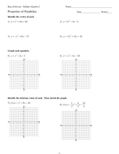 properties of parabolas worksheet for 9th 11th grade lesson planet