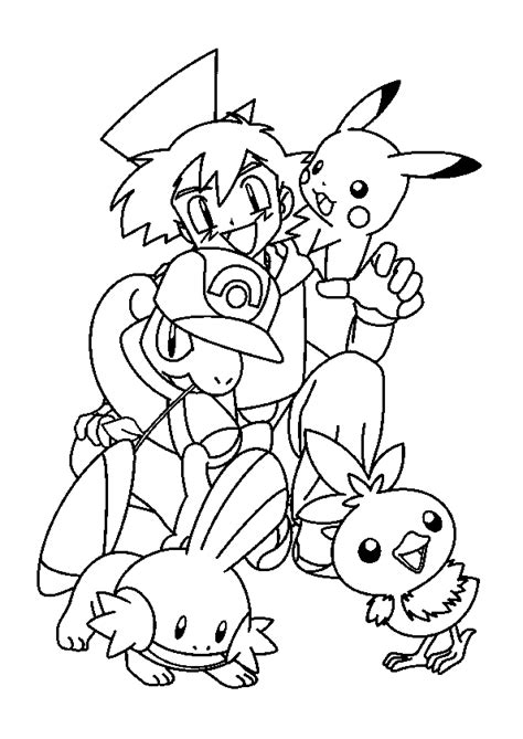 coloriage sacha  ses pokemon