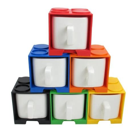 Dimensions are 13''d x 17'' w x 5''h 12 '' with 12 padded compartments that each measure 4¼'' x 4¼''. Cube Coffee Mug With Lego Shaped Stackable Storage Container | Cool kitchen gadgets, Mugs, Lego ...