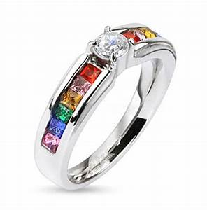 Pride Shack Lesbian Gay Pride Wedding Ring Band Rainbow
