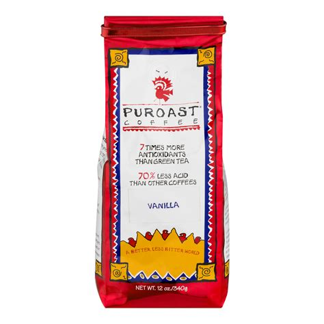 Java with lower acidity compared to normal roasts. Puroast Vanilla Low Acid Whole Bean Coffee, 12 oz Bag - Walmart.com - Walmart.com