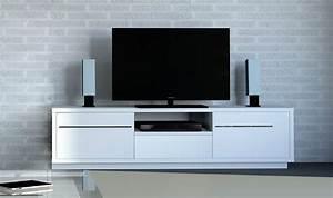 Meuble tv contemporain blanc laqu haut de gamme for Meubles haut de gamme contemporain
