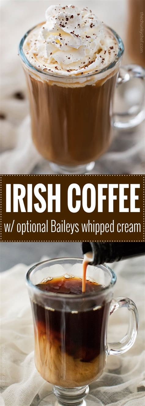 Find the recipe on delish.com. Easy Irish Coffee with Baileys Whipped Cream - The Chunky Chef