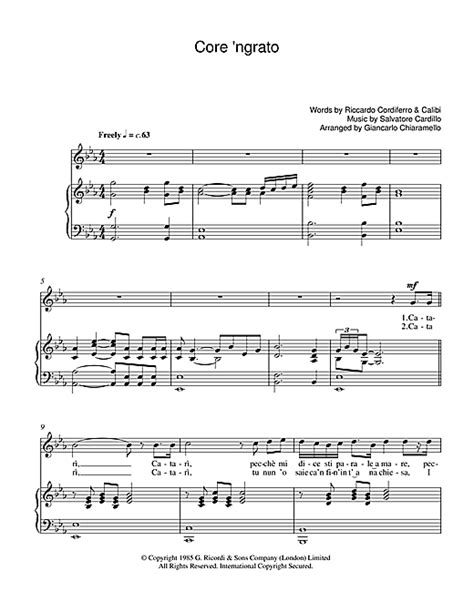 ngrato sheet by luciano pavarotti piano vocal guitar 39243