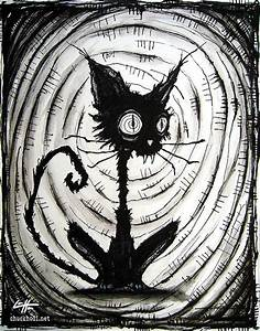 Print 8x10 Black Cat 3 Halloween Cats Stray Spooky