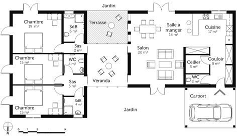 plan de maison de plain pied avec 3 chambres plan maison de plain pied avec véranda ooreka