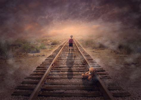 wallpaper child boy rail track teddy bear foggy