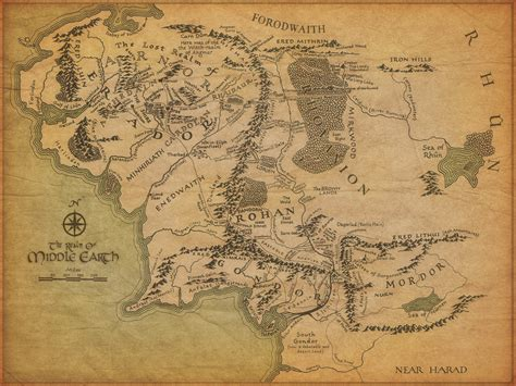 lord   rings map  middle earth