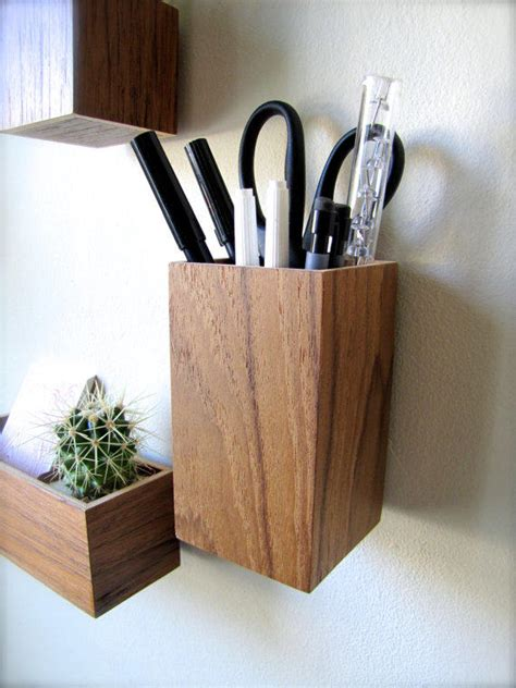 wall mounted desk organizer hanging organizer pencil holder from thewoodybeckers on etsy