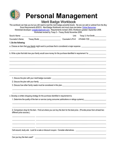 personal merit badge worksheet answers free worksheets 187 personal management merit badge