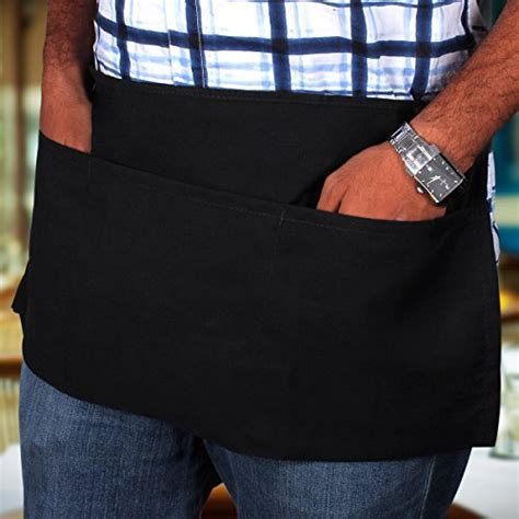 3 Pockets Waist Apron (SET of 2, Black, 24x12 inches