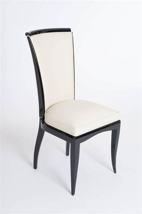 Set Of Six Elegant, French Art Deco Dining Chairs, Re