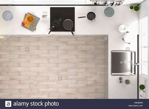furniture style kitchen cabinets 3d rendering kitchen interior top view with wooden floor