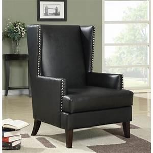 Shop, Coaster, Company, Black, Vinyl, Studded, Wingback, Chair, -, 29, 50, U0026quot, X, 32, U0026quot, X, 42, 50, U0026quot