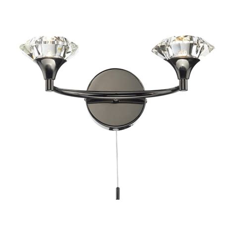 dar lighting luther 2 light black chrome switched wall