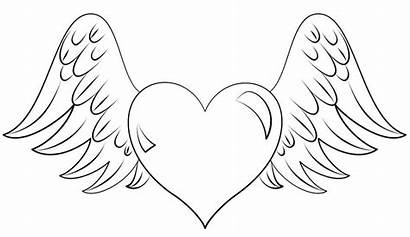 Coloring Heart Pages Printable Wings Flying Fruit