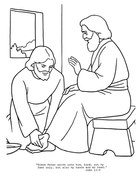 Jesus Washes The Disciples Feet Coloring Page Az