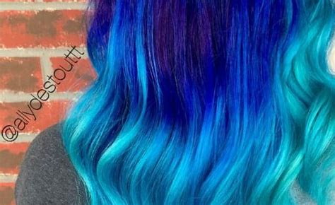 Turquoise Blue Royal Ombre Dyed Hair Color