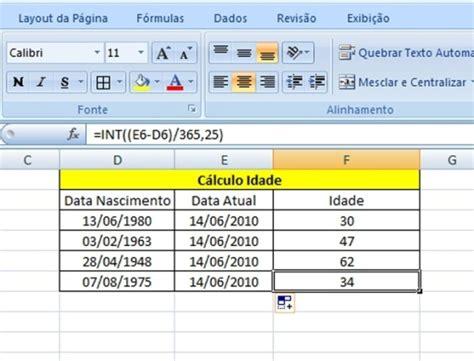 aprenda  usar  excel  calcular  idade de pessoas