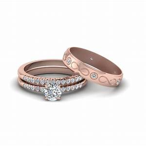 round cut daimond trio matching wedding set for him and With gold wedding ring sets for her
