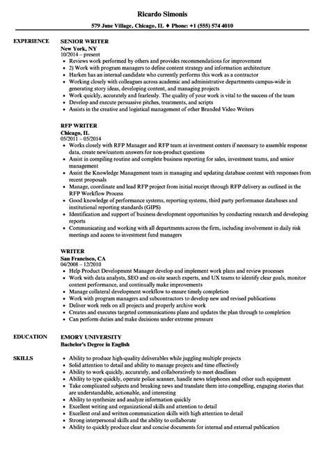 An Resume by Writer Resume Sles Velvet